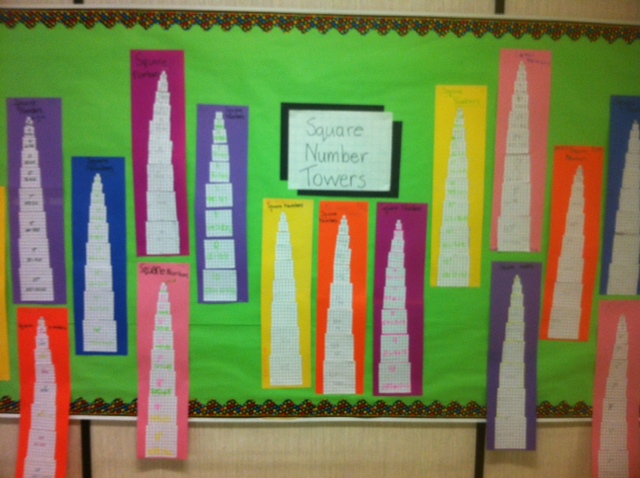 Math Bulletin Board: Square Number Towers | Focus on Math