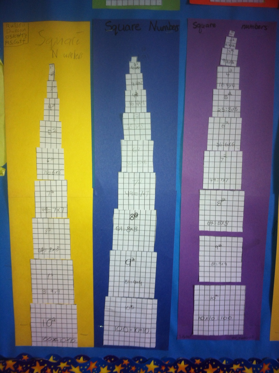 Math Bulletin Board Square Number Towers Focus On Math